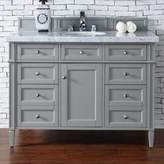James Martin Furniture Brittany 48-Inch Single Vanity Cabinet with 4cm Marble Top in Grey/White