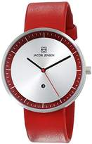 Jacob Jensen Strata Men's Quartz Watch with Silver Dial Analogue Display and Red Leather Strap 273