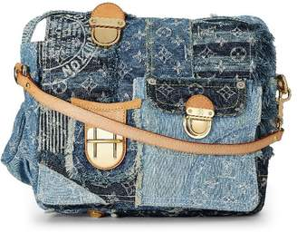 Louis Vuitton Limited Edition Blue Denim Patchwork Posty