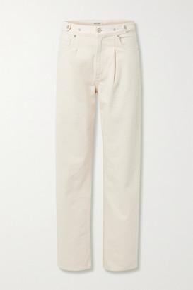 AGOLDE Baggy Pleated Organic Mid-rise Straight-leg Jeans - Ecru