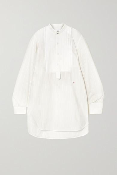 Victoria Beckham Pintucked Paneled Embroidered Cotton-poplin Shirt - Ivory