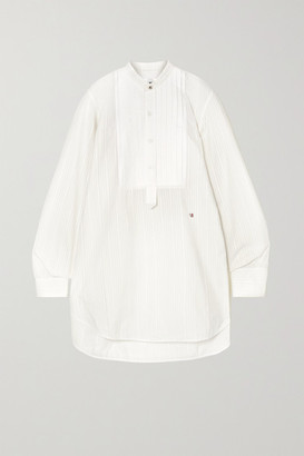 Victoria Beckham Pintucked Paneled Embroidered Cotton-poplin Shirt - Ivory