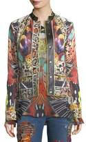 Roberto Cavalli Butterfly-Print Button-Front Sheep Leather Jacket