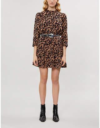 BA&SH Tiana leopard-print crepe mini dress