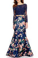 Ellie Wilde Embellished Illusion Lace To Floral Open-Back Two-Piece Mermaid Dress
