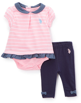 U.S. Polo Assn. Prism Pink Stripe Skirted Bodysuit & Leggings - Infant