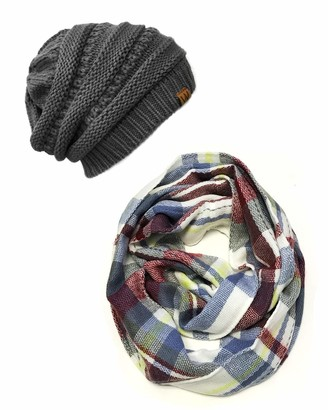 Wrapables Women's Plaid Print Winter Infinity Scarf and Beanie Hat