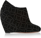 Alaia Studded suede wedge ankle boots