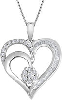 JCPenney FINE JEWELRY diamond blossom 1/4 CT. T.W. Diamond Cluster Sterling Silver Heart Pendant Necklace