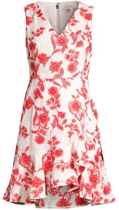 Rebecca Taylor Scarlet Embroidered Flounce Hem Dress