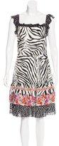 Blumarine Silk Zebra Print Dress
