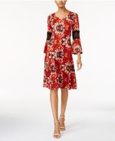 NY Collection Petite Printed Crochet-Sleeve Dress