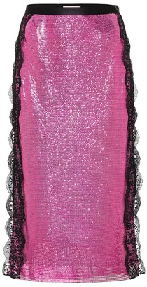 Christopher Kane Lace-trimmed chainmail midi skirt