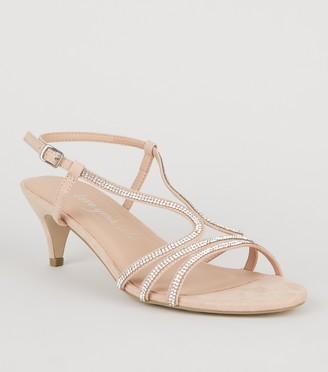 New Look Wide Fit Suedette Diamante Kitten Heels