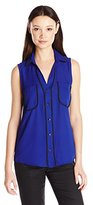 My Michelle Juniors Hi Low Sleeveless Blouse with Front Pockets