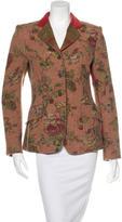 Etro Wool Rose Print Blazer
