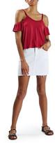Topshop Short Sleeve Ruffle Bardot Top