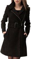 SODIAL(R) Women long Parka Wool Trench Winter Outerwear Winter Zipper Overcoat with BeltsS