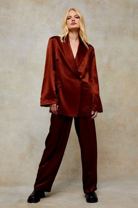 Topshop Bronze Satin Relaxed Suit Blazer Jacket