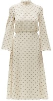 Valentino Logo-print Tie-neck Silk Dress - Womens - Ivory Multi