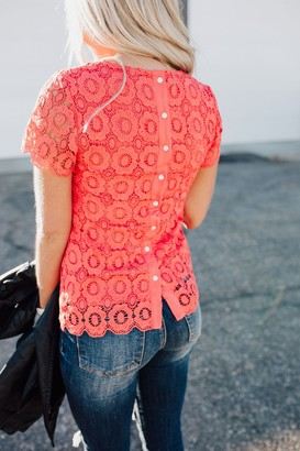 Ampersand Avenue Button Back Lace Top - Poppy