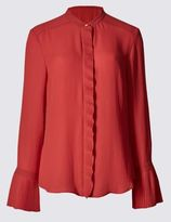 Marks and Spencer Frill Collared Neck Long Sleeve Blouse