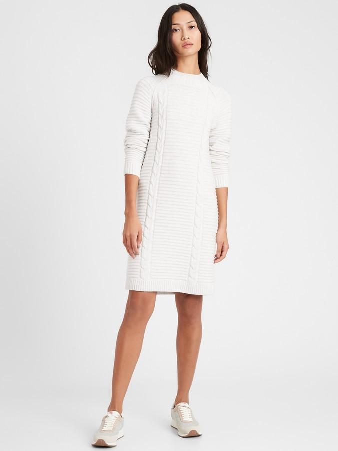 Banana Republic Petite Cable-Knit Sweater Dress