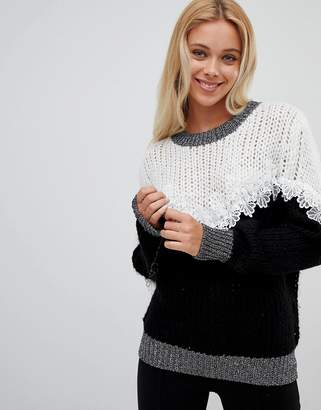 Wild Flower Ribbed Sweater With Lace Detail-Black
