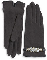 Portolano Faux Pearl-Accented Wool-Blend Gloves