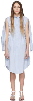 MM6 MAISON MARGIELA Blue and White Stripe Cotton Open Sleeve Dress