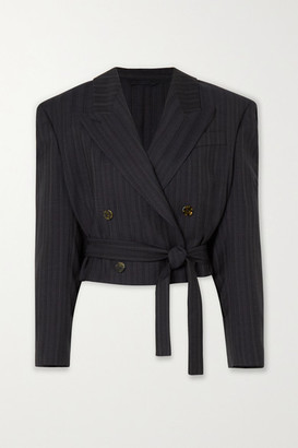 Acne Studios Cropped Double-breasted Pinstriped Wool Blazer - Navy