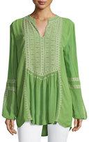 Tolani Lauren Embroidered Boho Blouse, Lime, Plus Size