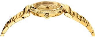 Versace V-Motif Gold Sunray 35mm Dial Gold IP Stainless Steel Bracelet Ladies Watch