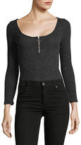 Design Lab Lord & Taylor Long Sleeve Zip Front Bodysuit