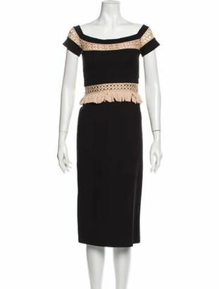 Alexis Printed Midi Length Dress w/ Tags Black