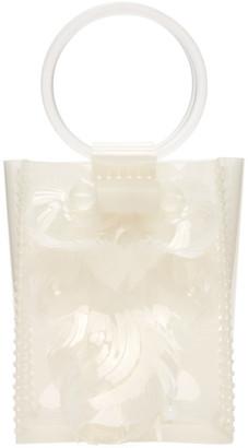 Mame Kurogouchi Off-White Mini Vinyl Top Handle Bag