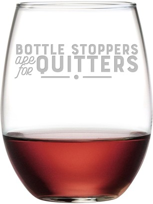 Susquehanna Glass Bottle Stoppers are for Quitters Stemless Wine Tumbler (Set of 4) 21 oz