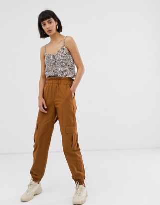 Only cargo trouser with pocket detail-Brown