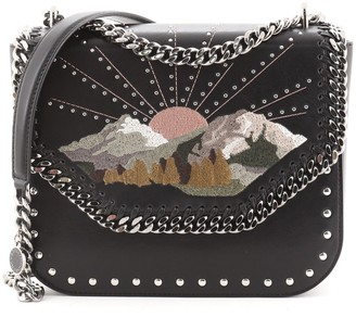 Stella McCartney Falabella Box Shoulder Bag Embroidered Studded Faux Leather Small
