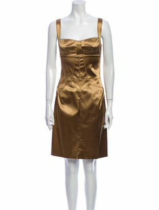 Dolce & Gabbana Square Neckline Mini Dress Gold