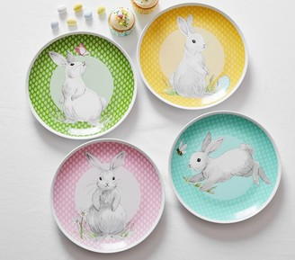 Pottery Barn Kids Springtime Bunny Ceramic Plates, Set Of 4