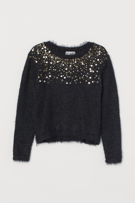 H&M Fluffy Sweater with Sequins - Black