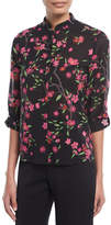 Alice + Olivia Eloise Floral-Print Button-Front Mandarin Collar Blouse