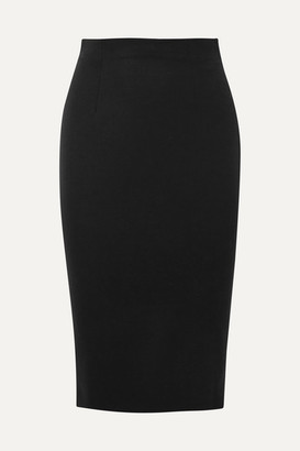Alexander McQueen Grain De Poudre Wool Pencil Skirt - Black