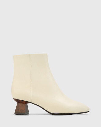 Wittner - Women's White Ankle Boots - Gotham Leather Sculptured Heel Ankle Boot - Size One Size, 35 at The Iconic