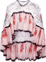Alexander McQueen floral print cape blouse