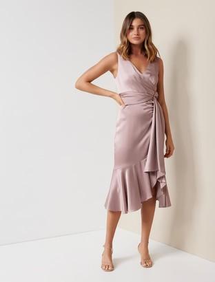 Forever New Gracelyn Petite Satin Wrap Midi Dress - Quartz Pink - 10