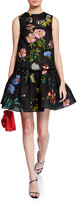 Oscar de la Renta Floral Embroidered Silk Flounce Cocktail Dress