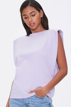 Forever 21 Cotton Shoulder-Pad Muscle Tee
