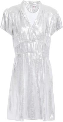 HVN Gathered Silk-lame Mini Dress